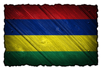 Mauritius flag painted on wooden tag