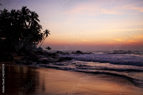 Sunset on ocean coast. Beautiful shores of the Indian ocean