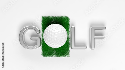 "3D ""Golf"" text with ball for ""O"" isolated"