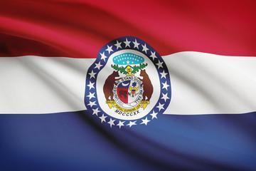 Series of ruffled flags. State of Missouri.