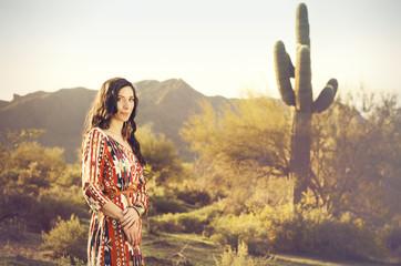 Woman in nature desert landscape
