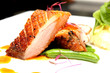 canvas print picture - Duck breast with orange sauce and mash totato