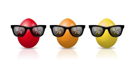 Bunte Comic-Eier mit Sonnenbrillen als Symbol für Osterrabatt