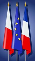 Drapeaux : Europe, France et Pologne