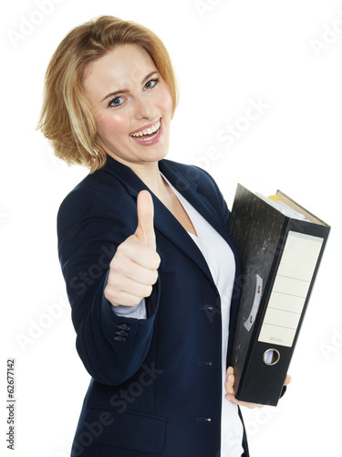 Apprentice for office shows thumb up