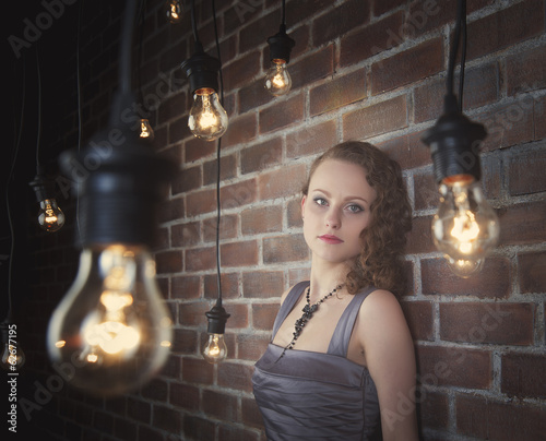 woman on a background of a wall