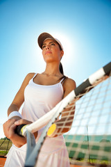 female tennis player outdoor