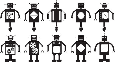 Robots collection illustrated on white