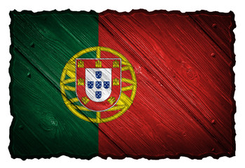 Portugal flag painted on wooden tag