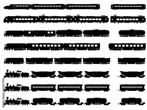 Vector silhouettes of trains and locomotives. - 62677793