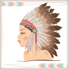 Vector native american indian chief