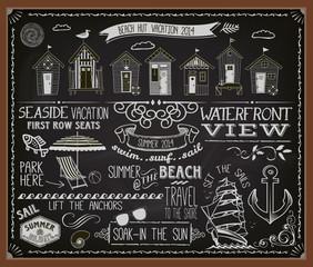 Chalkboard Poster Beach Huts
