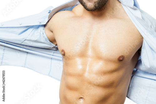 bodybuilding man shirt off