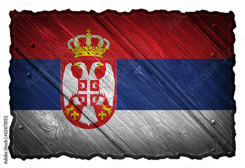 Serbia flag painted on wooden tag