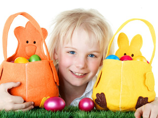 Cute child waits for Easter