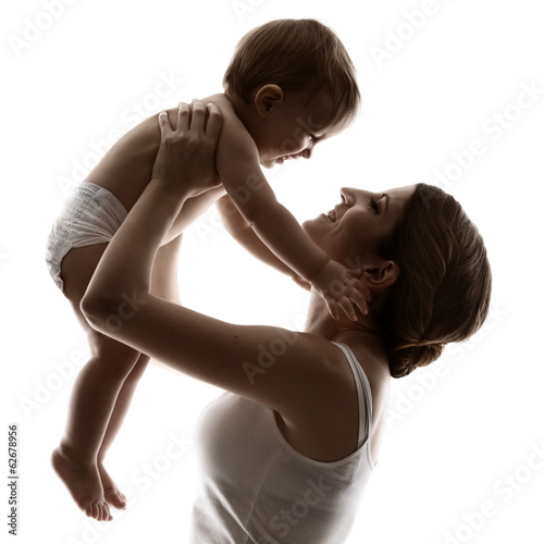 mother and baby, hapy family raising up smiling child