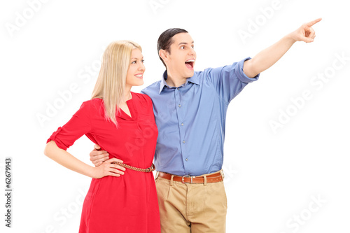 Man showing something to his girlfriend