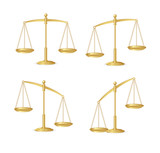 Vector Gold justice scales set isolated on white