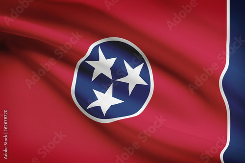 Series of ruffled flags of US states. State of Tennessee.