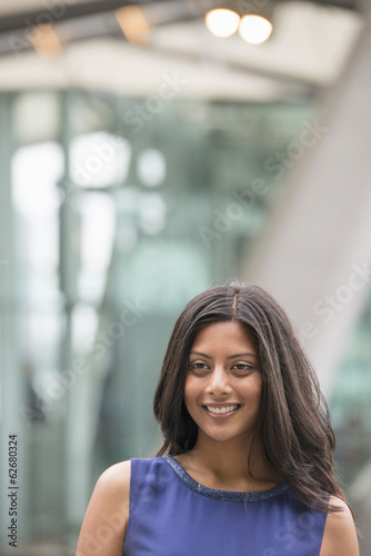 Business People. A Woman With Long Black Hair Wearing A Blue Dress.
