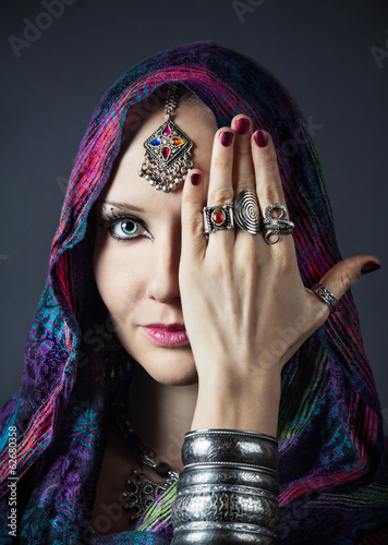 Tribal woman in scarf
