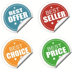 Best offer, seller , choice and price colorful labels