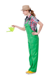 Woman with watering can on white
