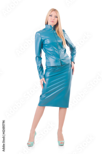 Woman model in blue leather suit