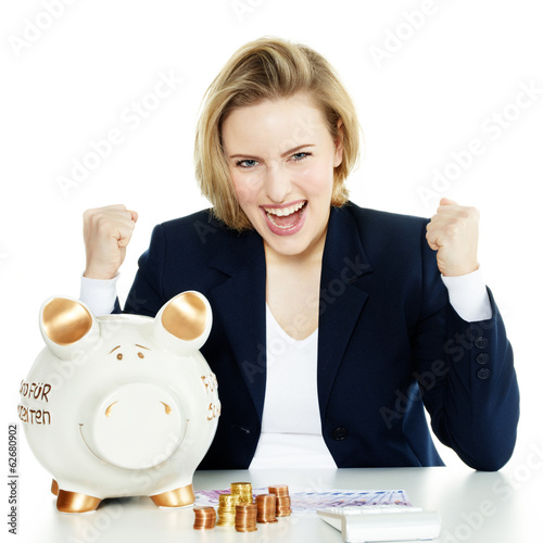Business woman shouts for success