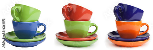 series of Multicolored teacups and saucers