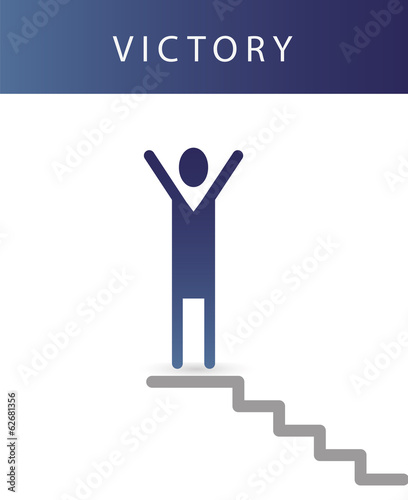 Human icon of leadership. Vector business victory.