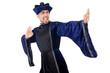 Old martial arts master in blue kimono on white