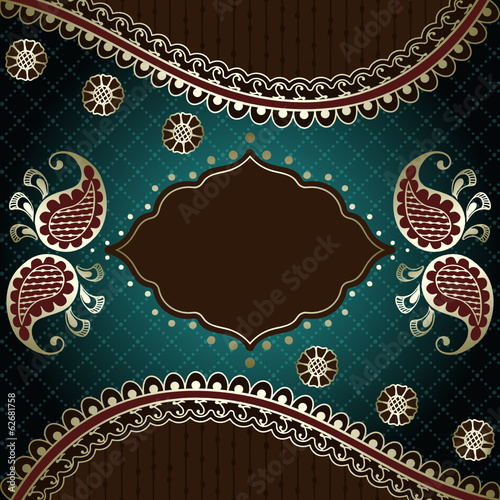 Elegant green & gold banner inspired by Indian mehndi designs