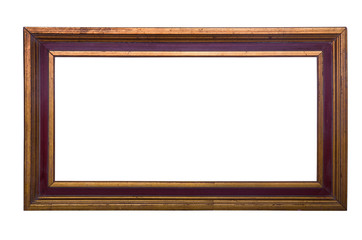 Old wooden brown frame with golden stripes