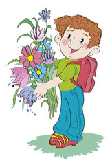 Boy - schoolboy with a bunch of flowers is standing.