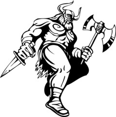 Nordic viking - black white vector illustration. Vinyl-ready.