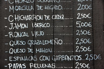 Tapas menu in Seville, Spain