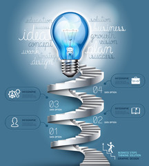 Business stair steps thinking solution Idea, lightbulb concept