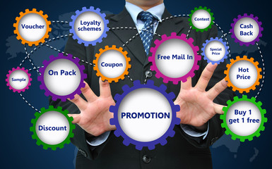 Business promotion for marketing concept