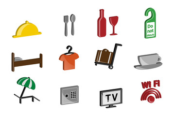 Hotel theme. Icon set.