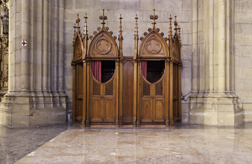 Confessional in a catholic church