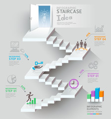 Business staircase thinking idea, Staircase doorway conceptual.