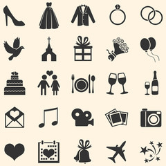 Vector Set of 25  Wedding Icons