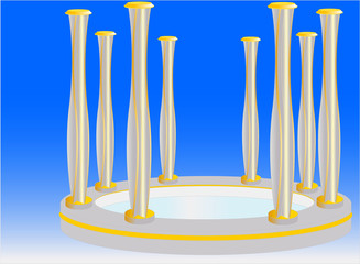 Sculpture consisting of slender metal columns,