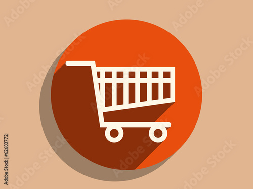 Flat long shadow icon of shoppind cart