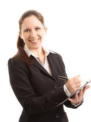 Lachende Geschäftsfrau mit Klemmbrett
