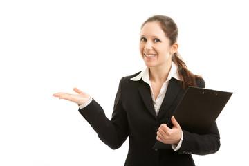 Geschäftsfrau präsentiert...