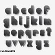 3D alphabet black color. Vector illustration.