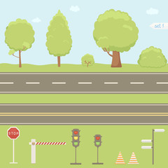 Road signs, traffic lights, trees collection