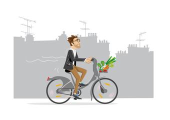 Homme en costume sur vélo